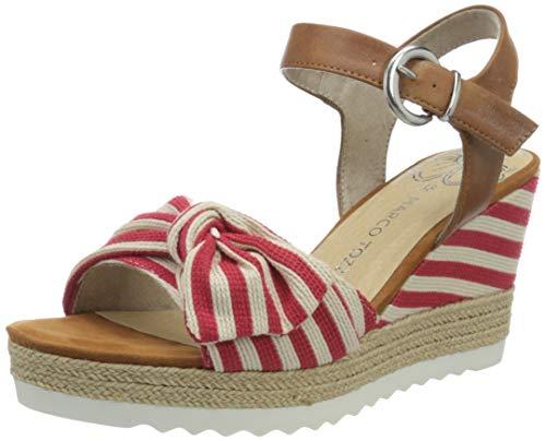 MARCO TOZZI 2-2-28706-24, Sandali con Cinturino alla Caviglia Donna, Rosso (Red Comb 597), 37 EU