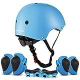 ValueTalks Protección Patinaje, Protección Infantil Consta de Casco Ajustable Rodilleras Coderas, Patinaje Ciclismo Monopatín y Deportes Extremos(Azul