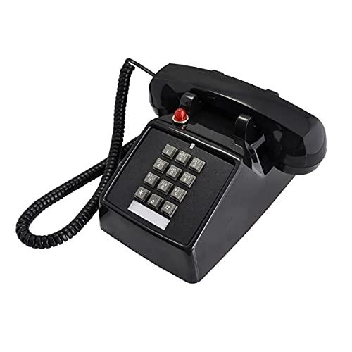 ELKeyko Teléfonos fijos con el Cable de la Antigua Moda Teléfono de la casa con un Tono Tradicional Ruidoso para Personas Mayores con discapacidad auditiva (Color : Black)