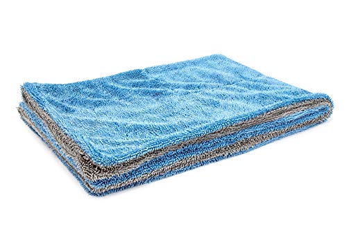 """[Dreadnought] Microfiber Car-Drying Towel, Superior Absorbency for Drying Cars, Trucks, and SUVs, Double-Twist Pile, One-Pass Vehicle-Drying Towel (Original (20""""x30""""), Blue/Gray)"""
