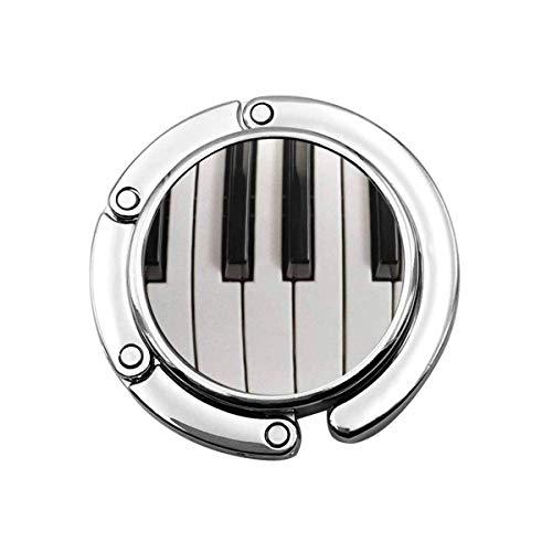 Folding Purse Handbag Hanger,Purse Hook for Car Table,Foldable Handbag Storage Music Piano Keys Vintage Acoustic Black Chord Classic