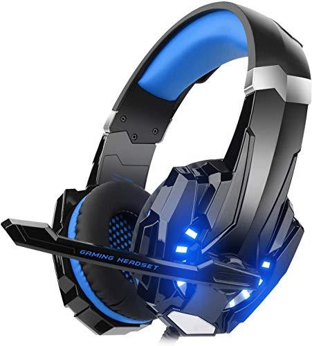 DIZA100- Auriculares para Videojuegos para PS4,Xbox One, Ordenador, con micrófono, luz LED, Bass Envolvente, Carcasa de Aluminio para Ordenador, portátil, Mac, Nintendo Switch -Azul