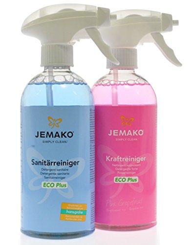 Jemako Reiniger-Set - Kraftreiniger Pink Grapefruit 500 ml & Sanitärreiniger 500 ml - inkl. 2 Schaumpumpen