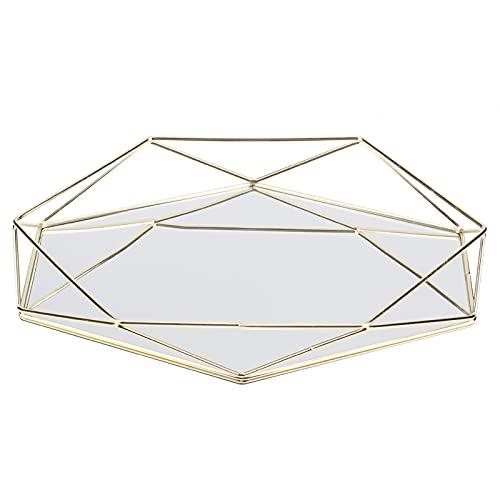 CjnJX-Vases Baño Organizador Caja Bandeja Espejo Metal Oro Cosmético Almacenamiento de Joyas Organizador Bandeja Caja Placa(A)