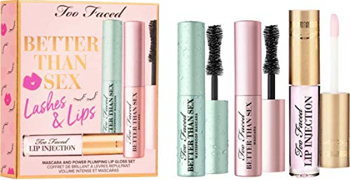 Too Faced Better Than Sex Mascara and Lip Gloss Trio Set, Mascara and Power Plumping Lip Gloss 3 Set, Lashes and Lips