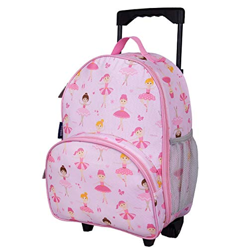 Wildkin Kids Rolling Luggage for Boys and Girls, Carry on Luggage Size is Perfect for School and Overnight Travel, Measures 16 x 12 x 6 Inches, BPA-free, Olive Kids (Ballerina)