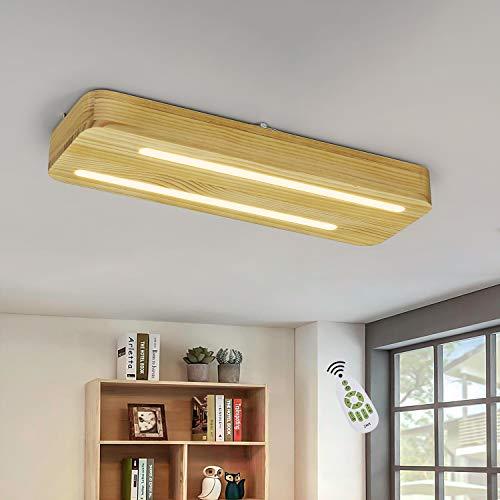 ZMH Lámpara LED de techo de madera, moderna, regulable, con mando a distancia, 60 cm, 21 W, rectangular, para salón, dormitorio, habitación de los niños, escaleras, balcón