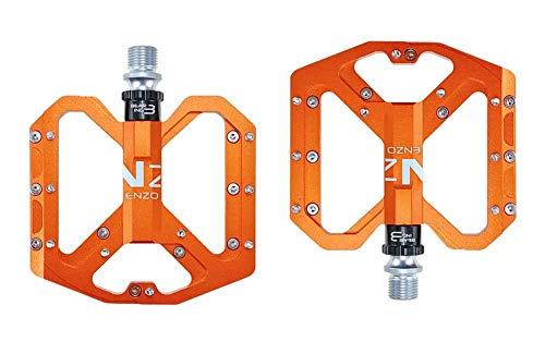 CMUNDLJQ 9/16 Zoll Fahrrad Pedalen rutschfest Trekking Pedale Mountainbike Rennrad Fahrradpedale, MTB Pedale mit Ultralight Aluminiumlegierung Platform und 3 Abgedichtete Läger nezo (Orange)