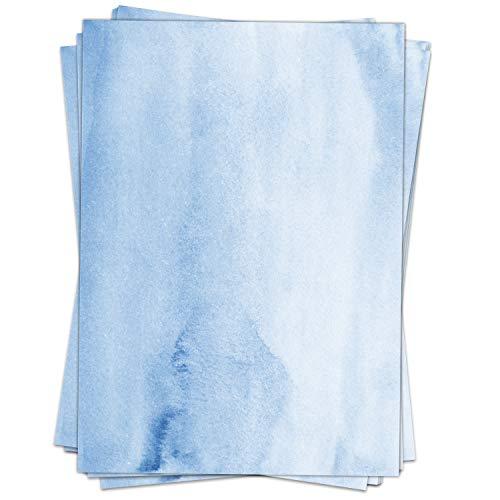 50 Blatt Briefpapier (A4)   Aquarell-Look blau   Motivpapier   edles Design Papier   beidseitig bedruckt   Bastelpapier   90 g/m²