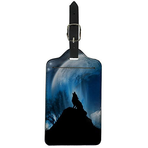 HUGS IDEA Night Wolf Print Luggage Suitcase Tags Labels for Travel Handbag Business Card Holder