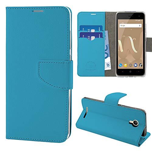 N NEWTOP Cover Compatibile per Wiko Jerry 2, HQ Lateral Custodia Libro Flip Chiusura Magnetica Portafoglio Simil Pelle Stand (Azzurra)