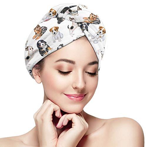 Toalla de pelo de microfibra para envolver cachorros papel pintado con perros acuarela turbante toalla súper absorbente de secado rápido cabello gorras sombrero