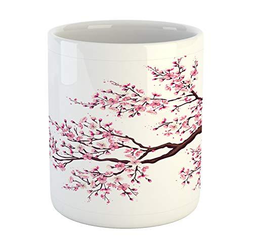 Ambesonne Japanese Mug, Branch of a Flourishing Sakura Tree Flowers Cherry Blossoms Spring Theme Art, Ceramic Coffee Mug Cup for Water Tea Drinks, 11 oz, Pink Brown