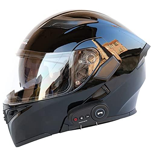 XKUN Cascos Motocicleta Bluetooth, Cara Completa con Flip hacia Arriba Modular con Visores Duales Cascos Motorcross, MicróFono Auriculares Altavoz Incorporado, para Mujeres y Hombres-I,XXL