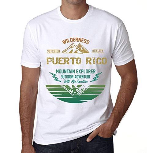 Hombre Camiseta Vintage T-Shirt Gráfico Puerto Rico Mountain Explorer Blanco