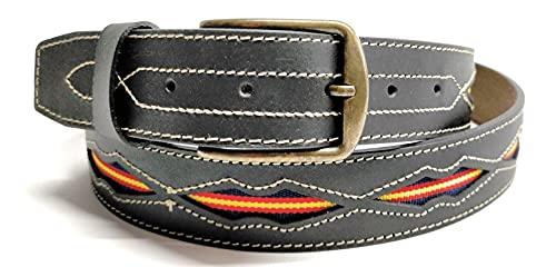 YOJAN PIEL   Cinturón De Cuero con la Bandera de España   100% Piel   Fabricado Artesanalmente   Diseño Elegante   En Color Marrón   Varias Medidas