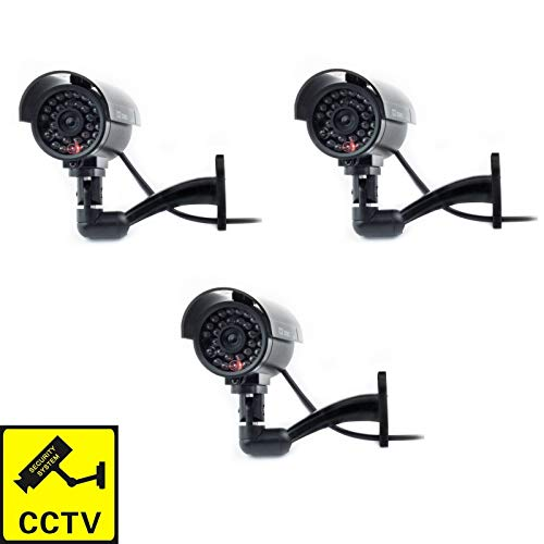 Digicharge Dummy CCTV Camera Outdoor Indoor Fake Simulated CCTV Security Imitation Surveillance Cam Flashing LED (3PCS)