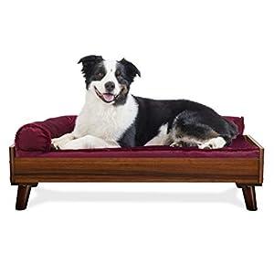 Furhaven Pet Dog Bed Frame – Mid-Century Modern Style Bed Frame Furniture for Pet Beds and Mattresses, Walnut, Large