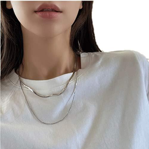 ZAZA Collares Mujer Hombre Collar Doble de Hueso de Serpiente, Collar de clavícula de aleación Dorada de Damas, Regalo del día de San Valentín/día de la Madre Gold-Rose Gold (Color : Silver)