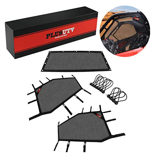 PLUSUTV Front and Rear Window Shade Net Shield Protective Net Roll Cage Mesh Guard Net for UTV Polaris RZR 2Seat 2020(3Pcs/Set)