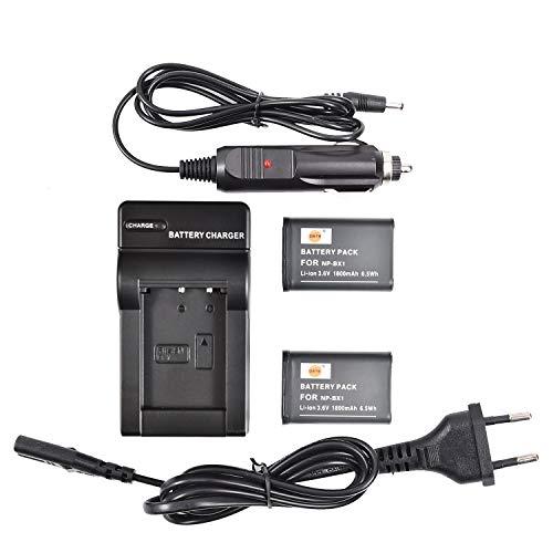 DSTE 2-Pack Batteria + Travel Caricabatteria Compatibile per Sony NP-BX1 DSC-HX90V DSC-WX500 DSC-HX400V DSC-HX60V DSC-WX300 HDR-GW66V HDR-GWP88V FDR-X3000 HDR-AS300 FDR-X1000V HDR-MV1