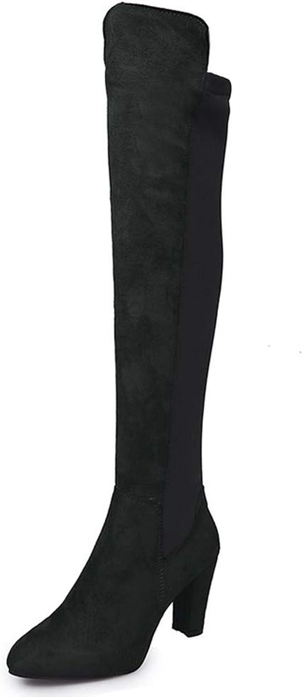SENERY Women Casual Pumps Knee High Boots Winter Platform High Heels Derss Warm Snow Booties