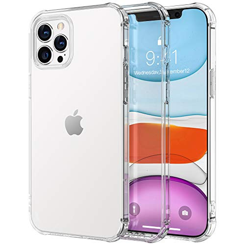 Krichit Ongoing Series Clear iPhone 12 Pro Max Cases [Anti-Yellowing] [Military Grade] [Anti-Shock] Premium TPU PC Protective Case