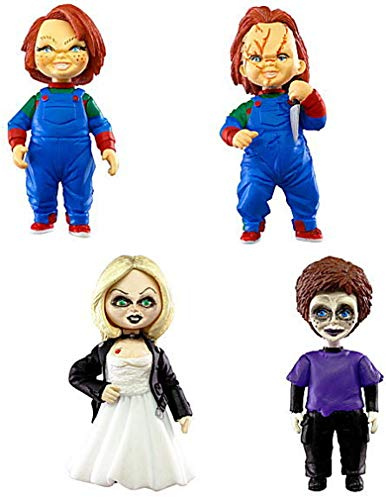 TOMY Chucky el muñeco diabólico Set 4 Figuras Versión Normal Colección Tiffany Glen 5cm Llavero Child'S Play Gashapon Japón