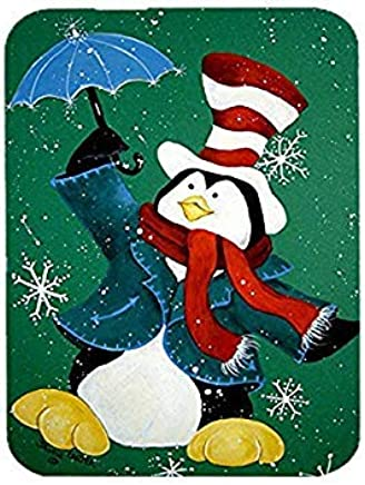 Caroline's Treasures PJC1015LCB Just Dropping in to Say Hello Christmas Penguin Glass Cutting Board, Large, Multicolor