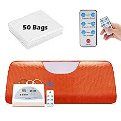 Lilypelle Sauna Blanket, Professional Far-Infrared Heat Sauna Heating Blanket with 50pcs Plastic Sheetings, 2 Zone Controller, Anti Ageing Beauty Machine for Body Shape Slimming Detox Sp (Orange)
