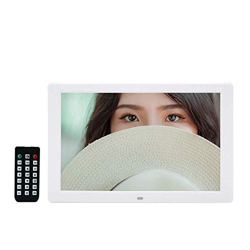 LWPCP Digital Photo Frame 1280 * 800 HD Photo Frame 12 Zoll Electronic Photo Calendar Clock Funktion Digital Photo Frame mit Motion Sensor,White