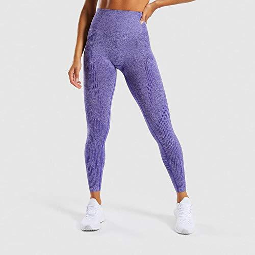 B/H Filles Fitness Sports Seamless Leggings,Legging sans Couture Taille Haute, Pantalon de Yoga de Course à Pied pour Femme-Purple_M