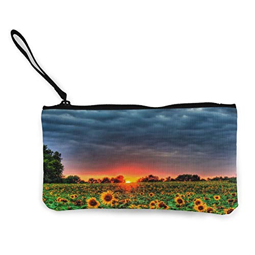 Sunset Sunflower Field Womens Coin Change Purse Pouch Multipurpose Toiletry Bags Wallet Craft Bag