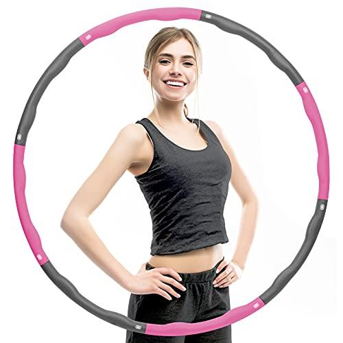 Tsock Hula Reifen Erwachsene für Gewichtsverlust und Massage, 8 Segmente Abnehmbarer 1.2kg Rosa grau