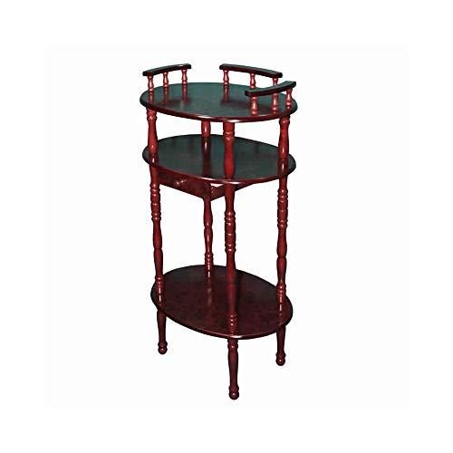 Benjara Telefontisch aus Holz, 3 Etagen, mit gedrehten Beinen, Braun