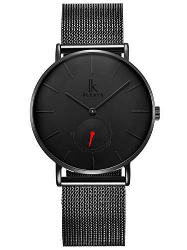 Alienwork Armbanduhr Herren Damen schwarz Metall Mesh Armband Edelstahl Ultra-flach