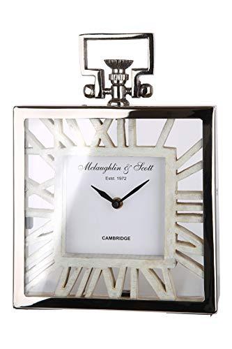 GILDE Uhr - Alu Standuhr mit weißem Holz für eine AA Batterie H 29 cm