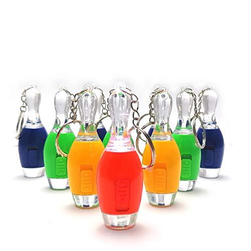 4x Bowling Pins Kegel 7CM Länge Taschenlampen Schlüsselanhänger Accecoires Mitgebsel Kindergeburtstag STUWU