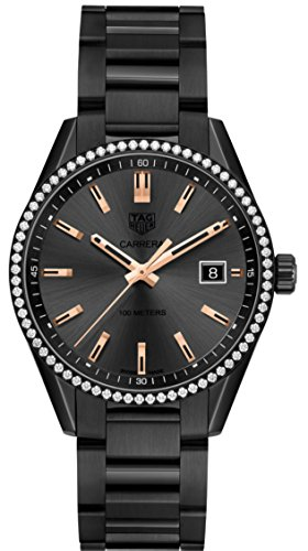 Mujeres Tag heuer Carrera 39MM Negro Titanio Diamantes WAR1115.BA0602