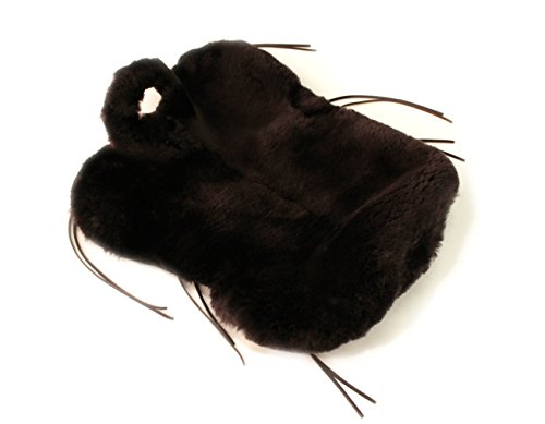 Westernsattelbezug aus echtem Lammfell - schlanke Form, mit Lederbändern und Hornausschnitt - kompaktes Fell, kräftiges Leder, 2 Größen, Dunkelbraun