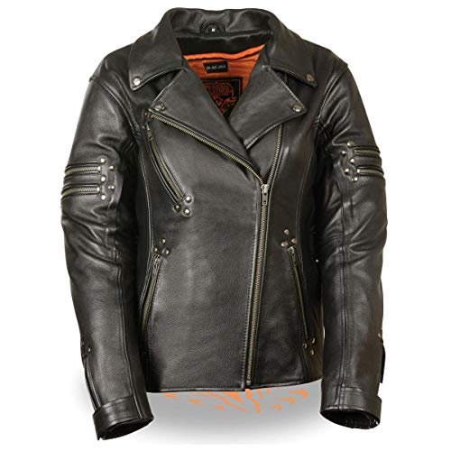 Milwaukee Leather MLL2585 Women's Fitted Belt-less Black Leather Jacket with Rivet Detailing and Gun Pockets - Medium