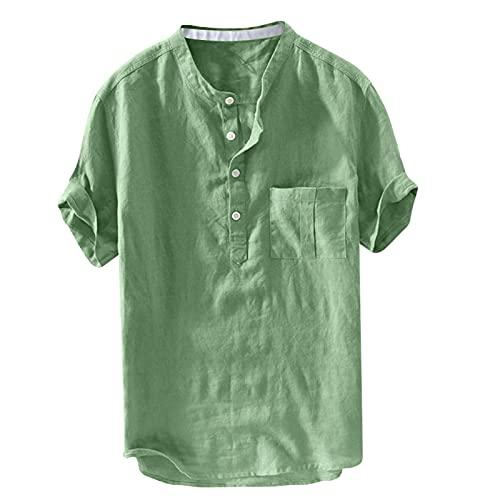 Camisas para hombre Home de color puro con botones de lino sólido, manga corta, estilo retro verde L
