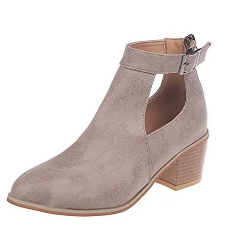 WHSHINE Stiefeletten Damen,Frauen Herbst Casual Einfarbig Nackte Stiefel Starke Ferse Pumps Booties Stiefel Elegant Einzelne Schuhe Damenschuhe