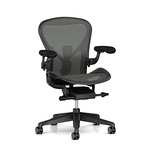 Herman Miller Aeron Ergonomic Office Chair with Tilt Limiter and Carpet Casters | Adjustable PostureFit SL, Arms, and Seat Angle | Medium Size B with Graphite Finish