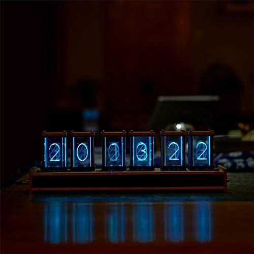 InLoveArts LED Nixie 6 stelliger Bausatz Controller LED-Uhr Steuerung Nixie Design LED-Textuhr LED Nixie Uhr mit Black Walnut Base Acryl Led Nixie Uhr DIY Bausatz Tube Clock 220V