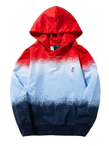 Sudadera de manga larga con capucha para niño de Lusons, con bolsillo rojo 104 cm-110 cm
