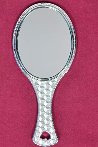 Tuin Van Kunsten Zilver Handheld Salon Kappers Kappers Ovale Spiegel met Grip Handvat