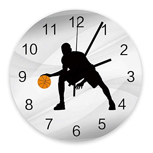 Reloj de pared redondo de madera de 10 ', silencioso, funciona con pilas, sin tictac, deportes de baloncesto, silencioso, oficina, cocina, dormitorio, reloj de pared, decoración del hogar, hombre negr