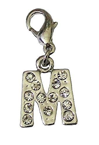 Clip auf Verschluss Bling Charm Alphabet Buchstabe M Dangle Halskette Anhänger Armband Schmuckherstellung Frauen Mädchen