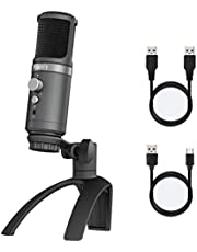 Photry micrófono para PC, micrófono de Condensador Profesional USB, teléfono móvil y Ordenador Plug & Play, con trípode Ajustable, Adecuado para grabación de Estudio, Streaming, podcasting